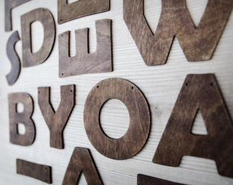 Personalized wooden banner - rustic wood letters custom colors garland alphabet vintage happy birthaday wedding mrs and mr welcome baby name