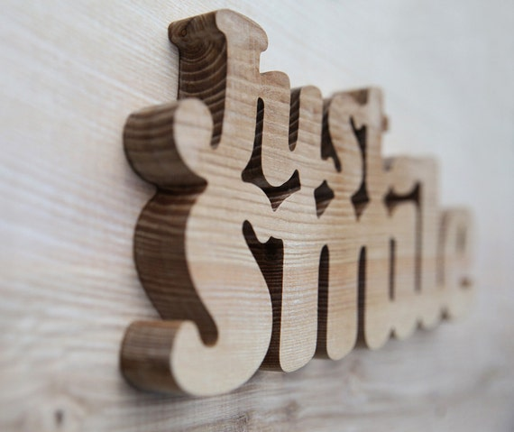 Items similar to just smile wooden words decorative wood letters for the wall natural eco rustic - Decorative wooden letters for walls ...