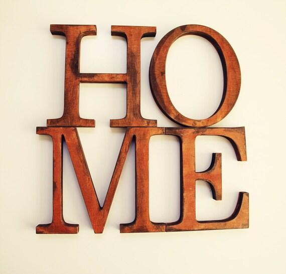SALE % Distressed Wooden Letters HOME Custom By BotanikaStudio