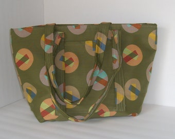 Muted Green Lined Tote Bag Purse