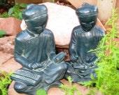 RARE Antique Asian Zen Scholar Student Austin Production Corp  Bookends 1961  Very GOOD