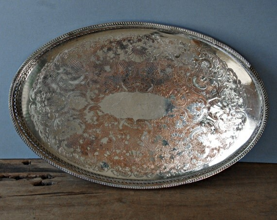 Vintage Oval Silver Plated Tray With Pierced Edge Drinks Tray