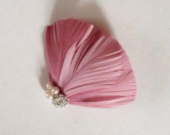 Dusty mauve feather fascinator, bridesmaids, hair accessories, bridal hair piece, feather hair clip, hair fascinator, bridal party,
