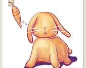 Bunny's Wish - Archival Wall Art Print of Original Illustration