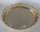 Vintage gold mirrored vanity tray wonderful condition