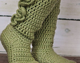 Adult Crochet Slipper Boots