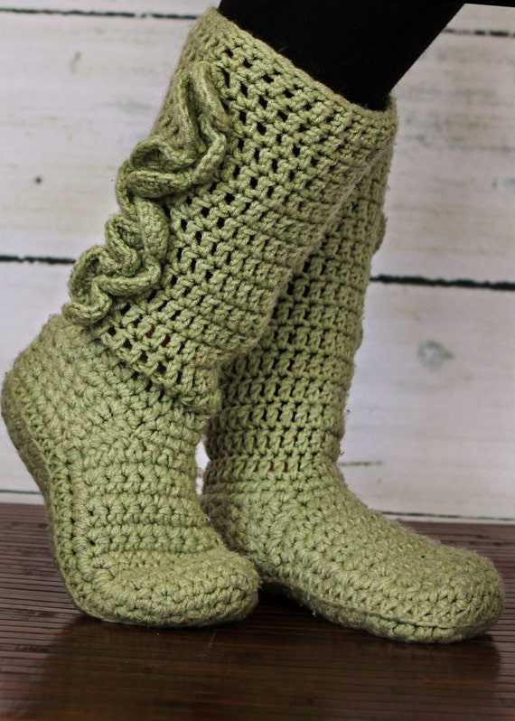 Adulto ganchillo zapatillas botas | Etsy