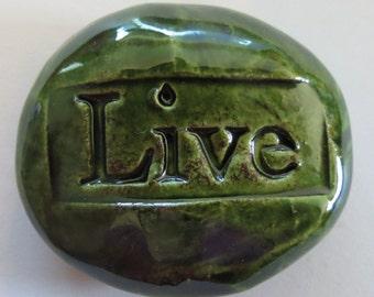LIVE Pocket Stone - Ceramic - GREEN Art Glaze - Inspirational Art Piece
