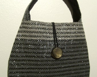 SALE! Handwoven Glossy handbag / evening bag, made from recycled materials