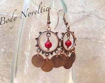 Red Coral and Copper Earrings