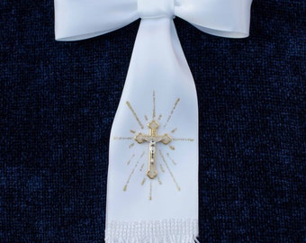 Boy First Communion Arm Bow Ribbon with Cross