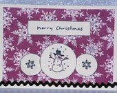 Red Snowflakes Merry Christmas Snowman Card