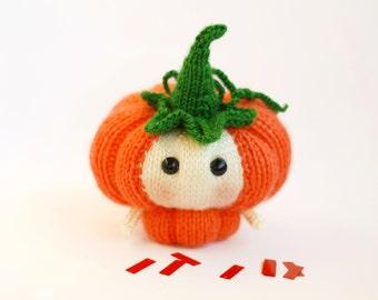 Halloween Pumpkin Doll. PDF knitting pattern (knitted in the round). Halloween pattern. Halloween Doll. Halloween Decoration