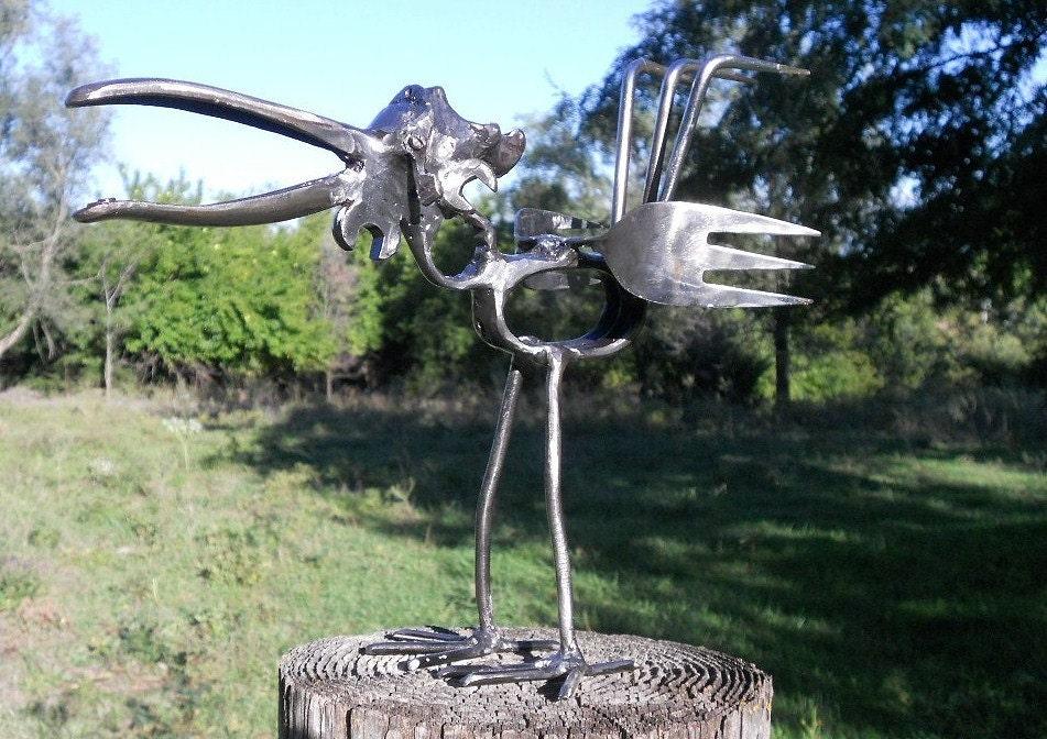 Bird Metal Sculpture Yard Art Garden Art Yard Bird Welded on Backyard Metal Art id=94885
