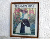 SALE 1906  Ladies Home Journal Cover colorful collectable  in oak frame