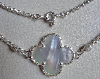 "Mother  pearl and sterling silver 18"" necklace."