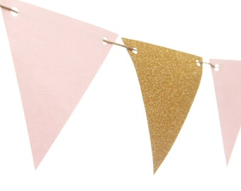 Pink and Gold Triangle Flag Banner / Pink and Gold Pennant Banner / Pink and Gold Bunting / Pink and Gold Garland / Pink and Gold Party