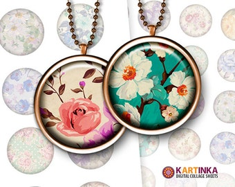 FLORAL PATTERNS - 20mm, 38mm, 25mm, 1.5 inch, 1 inch Circles Digital Collage Sheet Printable Download for Pendants Magnets
