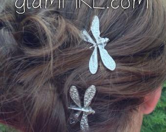 Dragonfly Wedding Bobby Pins, Bridal Party, Wedding Hair, Bridal Hair