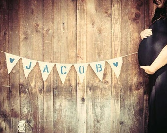 CUSTOM Baby Name Burlap Pennant Banner -  shower decor - photo prop - welcome baby -its a boy