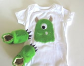 Green Fuzzy Monster Baby Gift Set