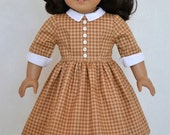 American Girl 18 Inch Doll Dress Historical 1950's era Molly Emily Kit Ruthie - Toffee Gingham