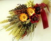 Rustic Bouquet-Dried Flower Bridal Bouquet-Fall Bouquet-Rustic Wedding Bouquet-Fall Wedding-Flower Bouquet-Burgundy Wedding