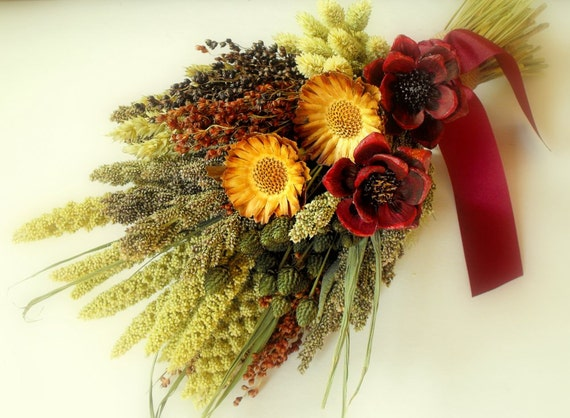 How To Dry A Bridal Bouquet Of Flowers : Rustic bridal bouquet dried flower fall