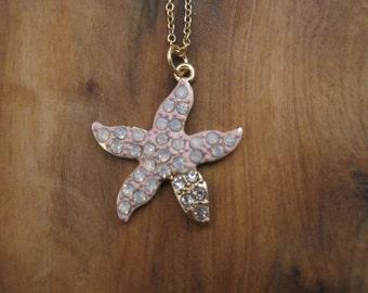 Pink Rhinestone Starfish Necklace - Starfish Necklace