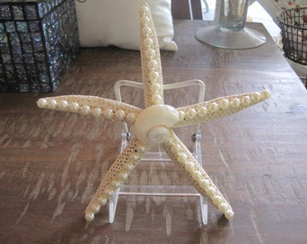 Beach Decor Starfish - Embellished Starfish with Pearls and Shells - Decorated Starfish