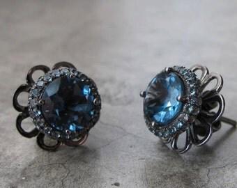 London Blue Topaz Earrings with Blue Sapphire- Gorgeous Blue Topaz Earrings- Blue Sapphire Earrings