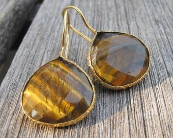 Tigers Eye Earrings- Dangle Earrings- Quartz Earrings- Topaz Earrings- Gemstone Earrings- Stone Earrings- Gold Earrings