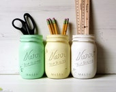 Painted Mason Jars Home Dorm Decor Pencil Holder Vase Centerpiece Green Yellow White