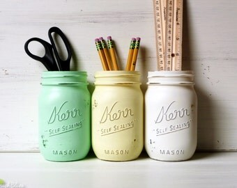 Painted Mason Jars Home Dorm Decor Pencil Holder Vase Centerpiece Green Yellow White