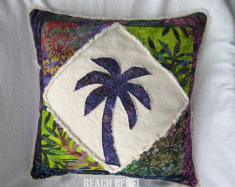 """Patchwork palm tree boho pillow cover, with purple, green, multi color batiks and natural distressed denim 18"""""""