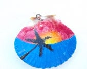 Sunset on the beach hand painted shell pendant - Free shipping US