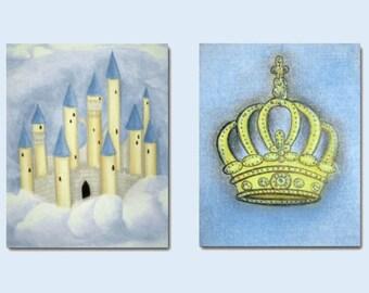 Prince Nursery Decor, Castle and Crown, Blue Yellow, Set of 2 Prints, Kids Decor, Nursery Wall Art, Kids Wall Art, Nursery Decor, Kids Art