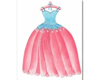 Girls room Decor, Princess Dress Art Print, Kids Wall Art, Kids Decor, Nursery Wall Art, Nursery Decor, Pink and Aqua, Girl Nursery Decor