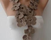 Autumn Scarf - Handknit flowered scarf -  Mink scarf