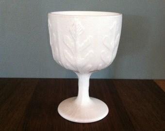 Vintage Milk Glass Pedestal Vase with Oak Leaves