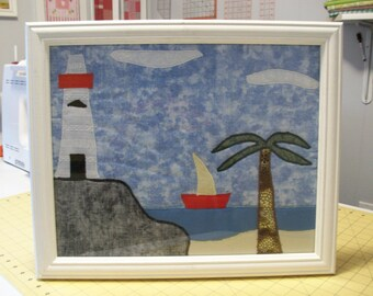 """Handmade quilted picture  17"""" X 14""""  Lighthouse and boat"""