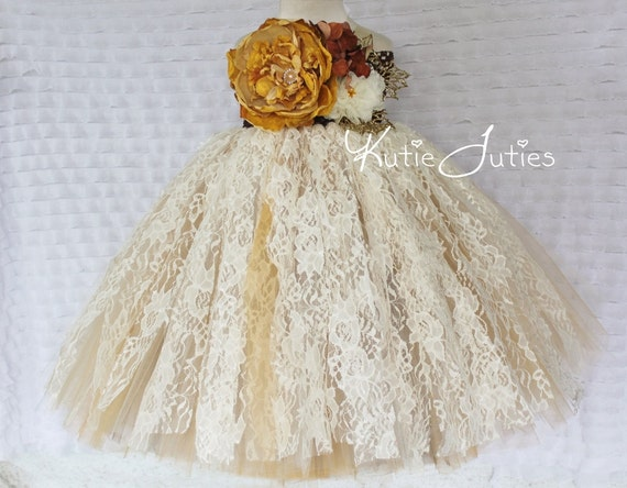 Items Similar To Vintage Fall Lace Ivory, Brown, Gold