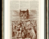 Alice in Wonderland Cheshire Cat vintage book page print on a late 1800s Dictionary page Buy 3 get 1 FREE