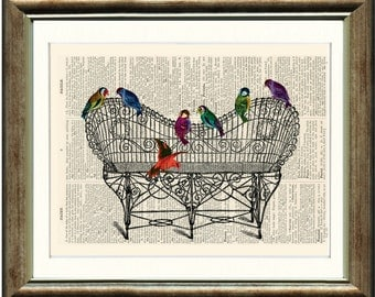 Bird Print - book page vintage print on a page from an Upcycled late 1800s Dicitionary Buy 3 get 1 FREE