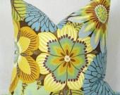 18 x 18 inch .  Kiki by Robert Allen . Pillow Cover . Pillow Cushion . Gold . Azure . Mum . Floral