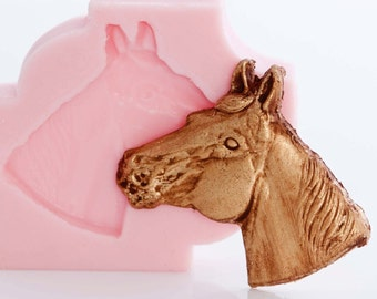 Silicone horse mold - jewelry mold, fimo mold, polymer clay mold, resin mold, cabochon mold, flexible easy to use  (923)