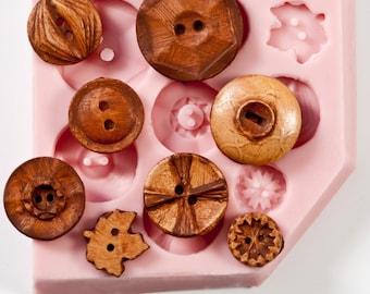 Vintage Button Mold - Makes 8 Buttons - resin button mold - glass button mold - pmc button mold - clay button mold - Flexible Silicone (711)