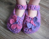 Girls Pink and Purple Wool Slippers with Butterflies, soft leather sole, Kids Sizes 8 to 1,available in different COLORS, SIZES and APPLIQUE
