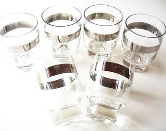 Mid Century Cocktail Glasses, Silver Rim Barware,  Etchings, Mad Men