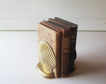 Brass Shell Bookends, Beach Decor, Set of two brass bookends, shabby chic